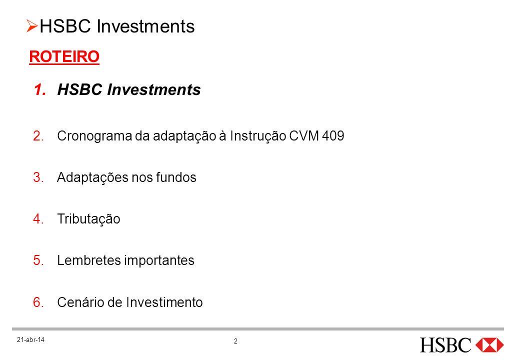 ROTEIRO HSBC Investments Cronograma da adaptação à Instrução CVM 409