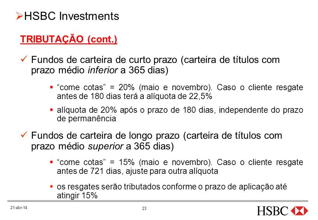 TRIBUTAÇÃO (cont.) Fundos de carteira de curto prazo (carteira de títulos com prazo médio inferior a 365 dias)