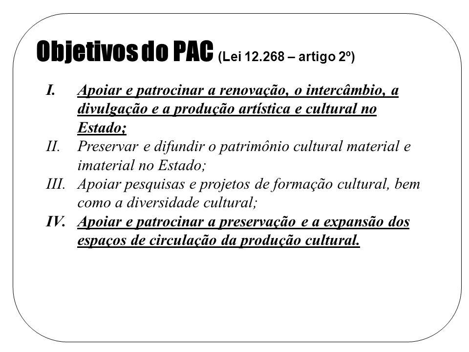 Objetivos do PAC (Lei 12.268 – artigo 2º)