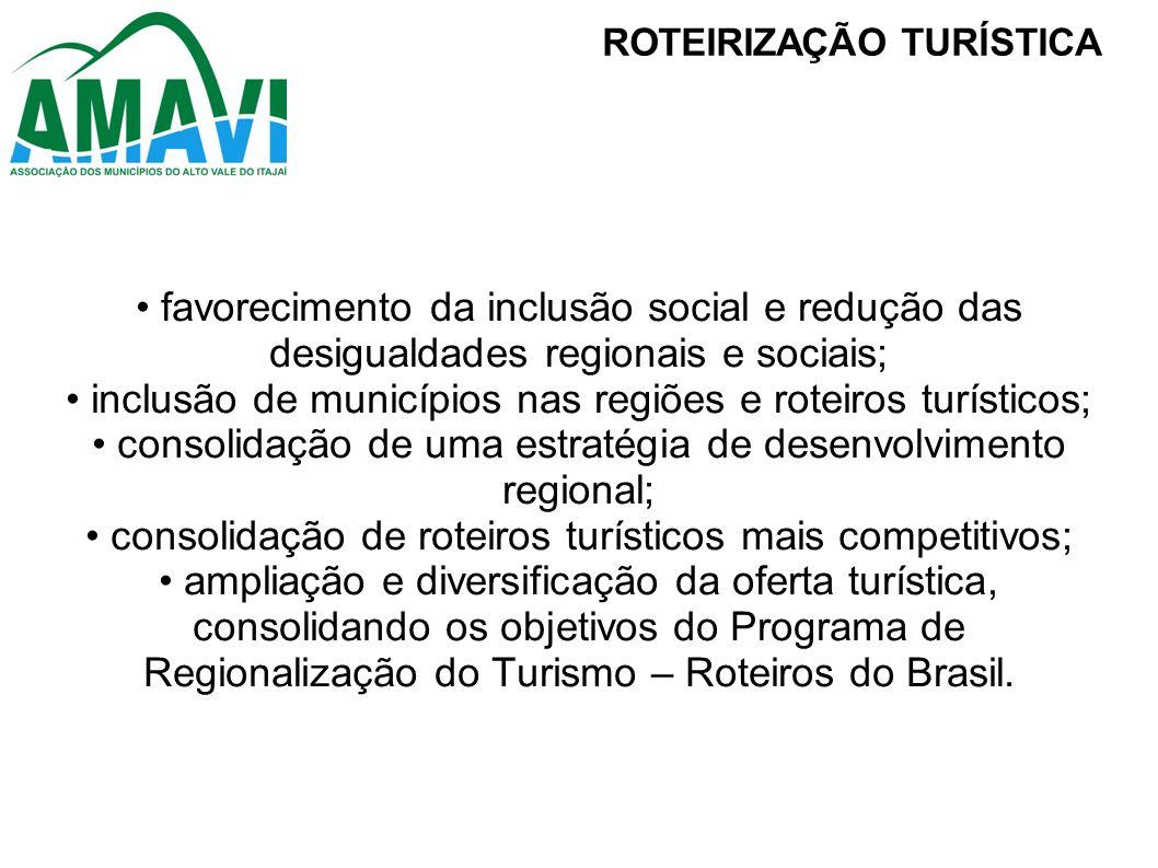 • inclusão de municípios nas regiões e roteiros turísticos;