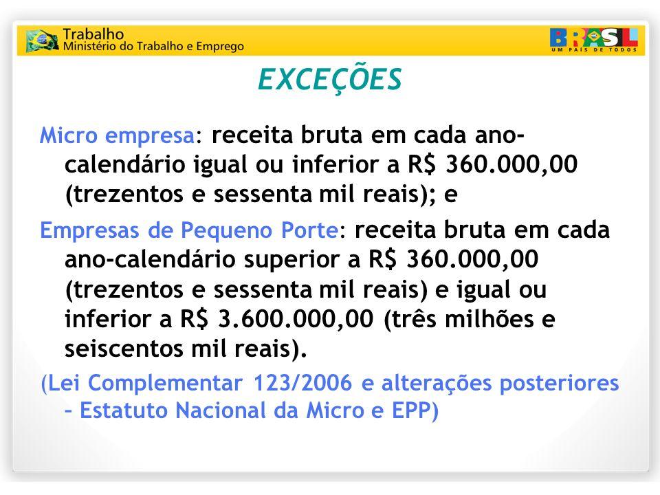 EXCEÇÕES Micro empresa: receita bruta em cada ano-calendário igual ou inferior a R$ 360.000,00 (trezentos e sessenta mil reais); e.
