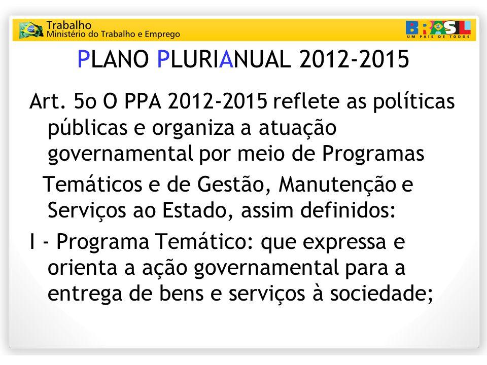 PLANO PLURIANUAL 2012-2015 Art. 5o O PPA 2012‐2015 reflete as políticas públicas e organiza a atuação governamental por meio de Programas.