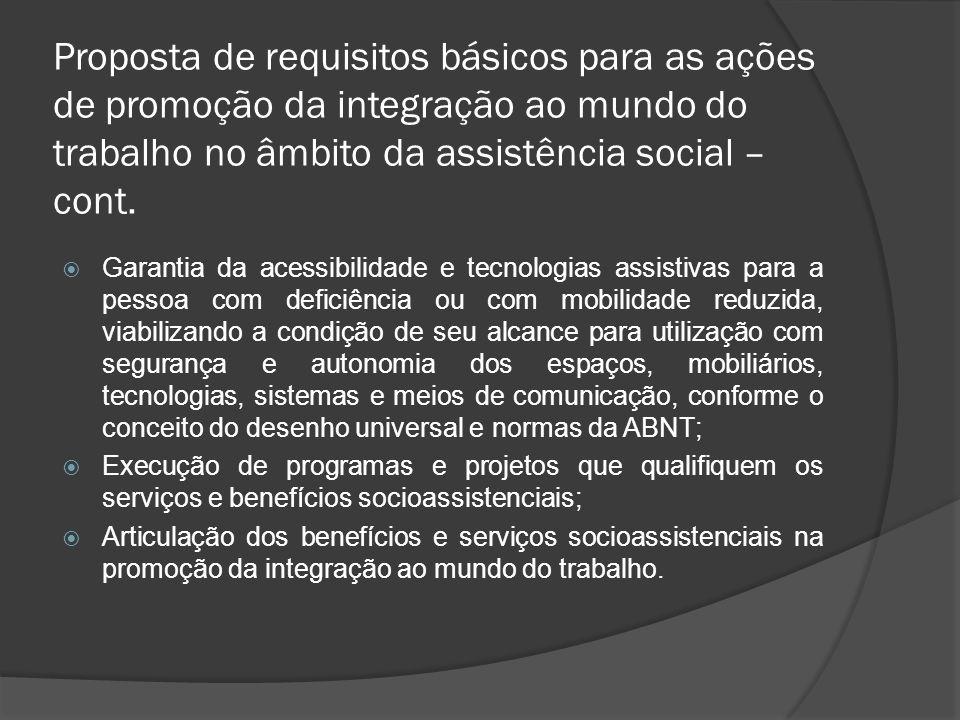 Proposta de requisitos básicos para as ações de promoção da integração ao mundo do trabalho no âmbito da assistência social – cont.