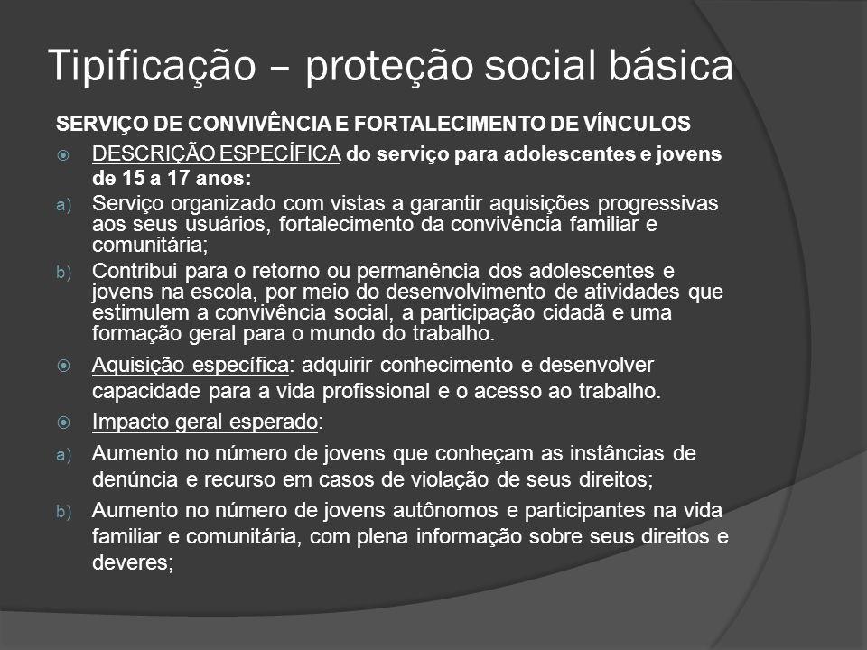 Tipificação – proteção social básica
