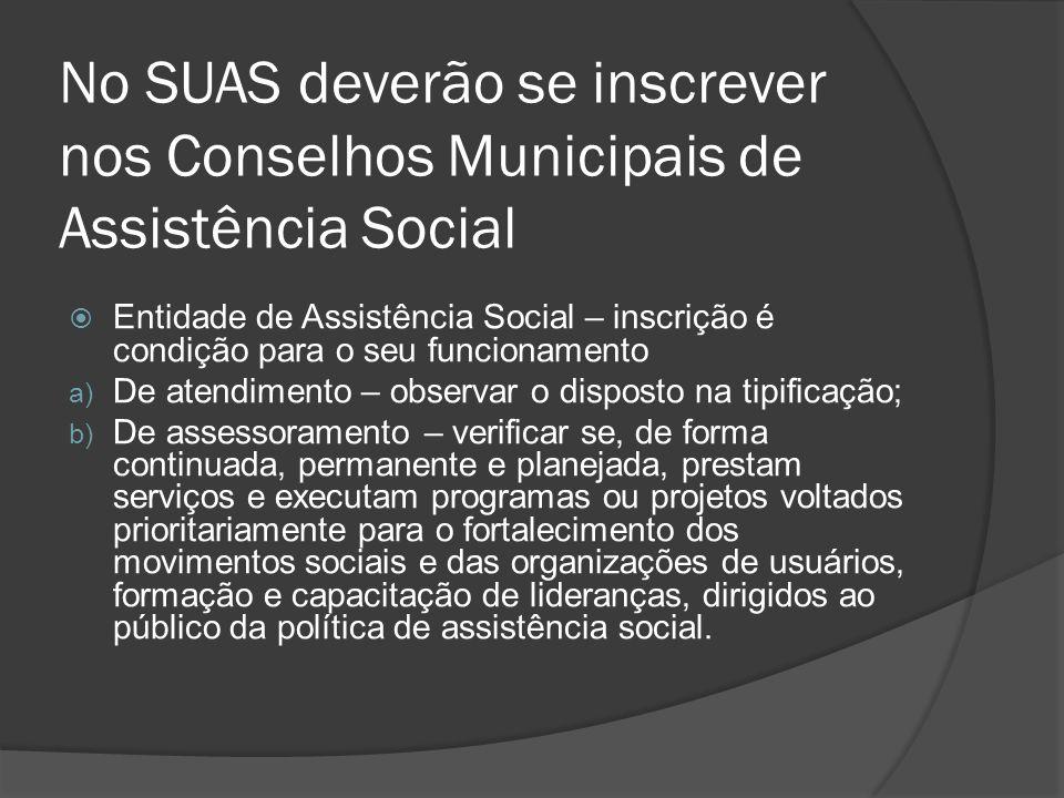No SUAS deverão se inscrever nos Conselhos Municipais de Assistência Social