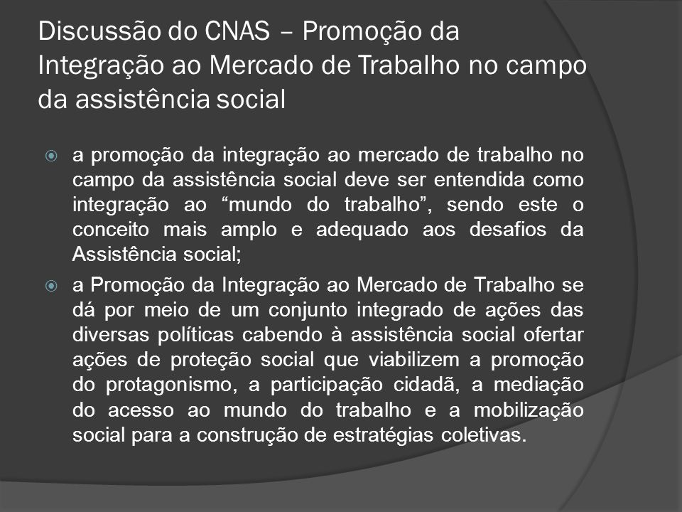 Discussão do CNAS – Promoção da Integração ao Mercado de Trabalho no campo da assistência social