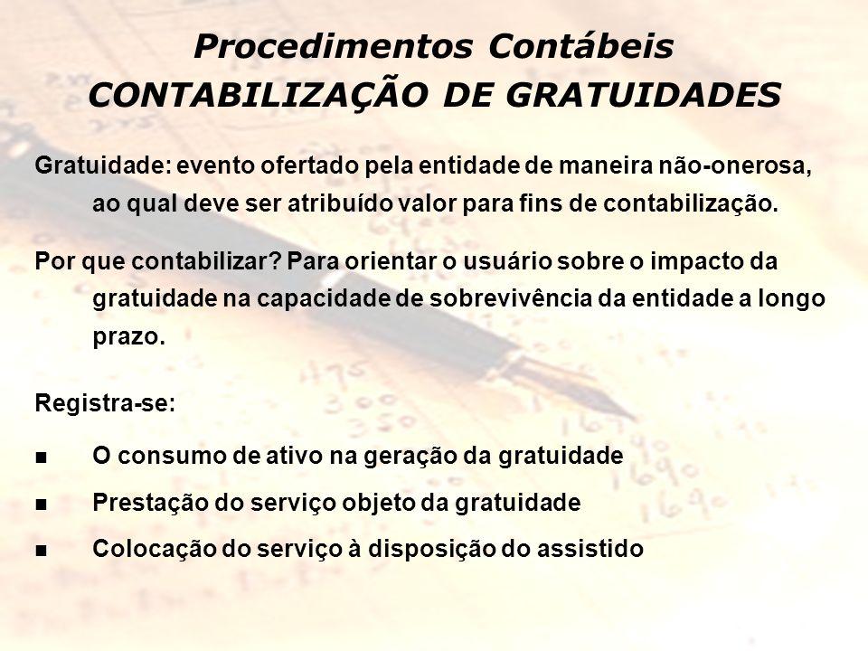 Procedimentos Contábeis CONTABILIZAÇÃO DE GRATUIDADES