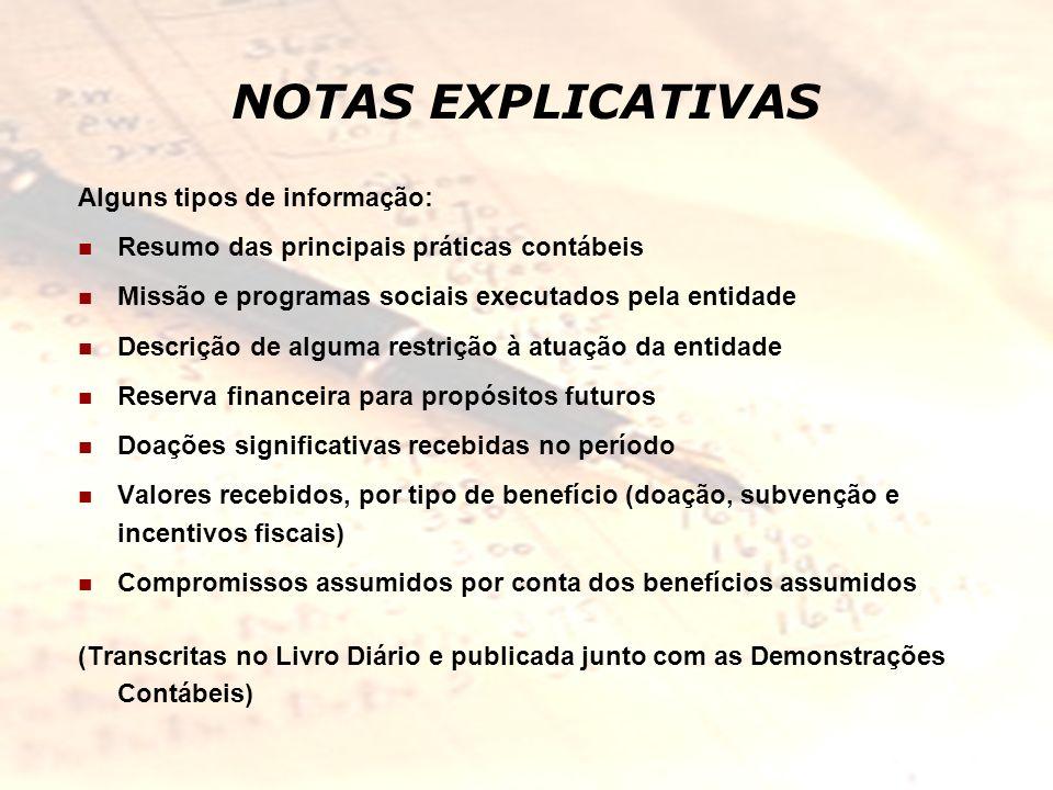 NOTAS EXPLICATIVAS Alguns tipos de informação: