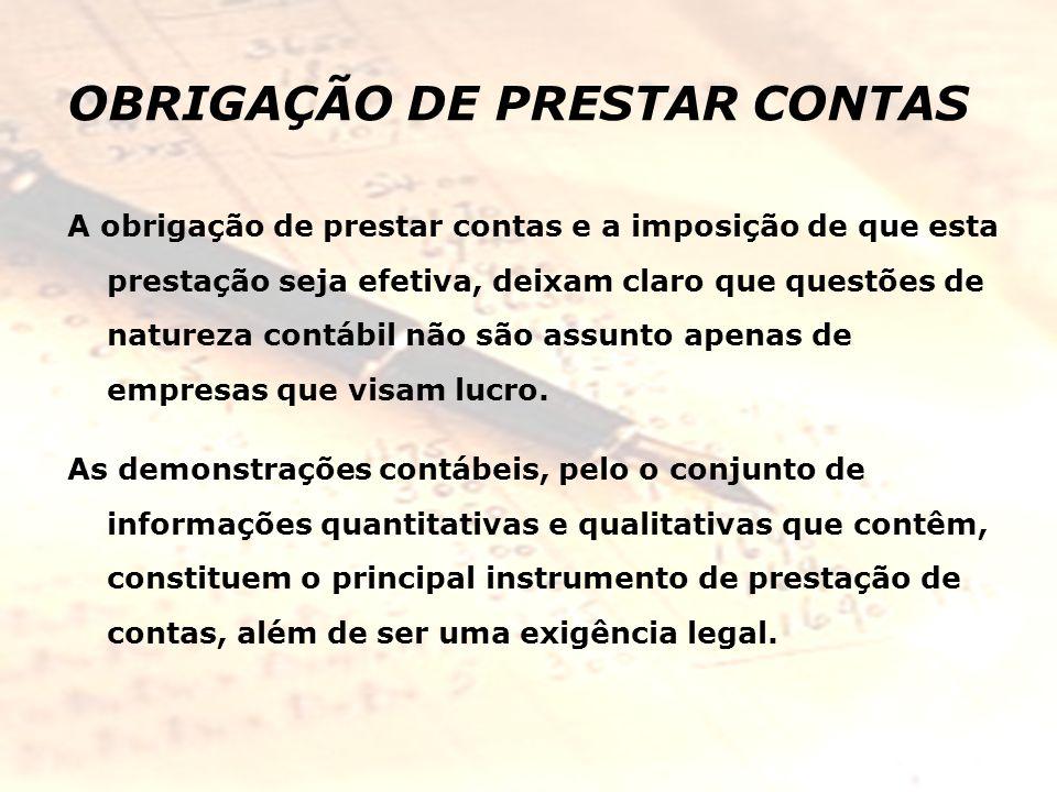 OBRIGAÇÃO DE PRESTAR CONTAS