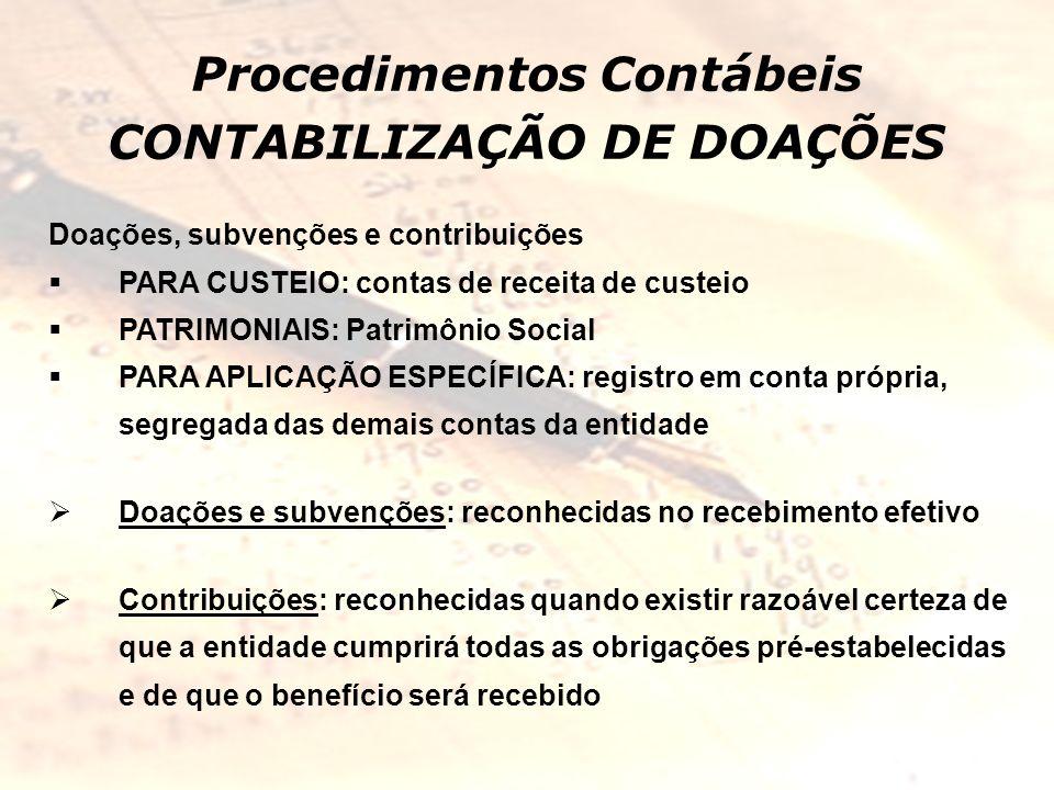 Procedimentos Contábeis CONTABILIZAÇÃO DE DOAÇÕES