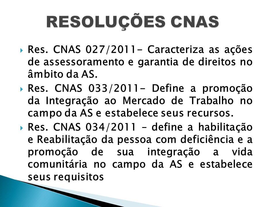 RESOLUÇÕES CNAS Res. CNAS 027/2011- Caracteriza as ações de assessoramento e garantia de direitos no âmbito da AS.