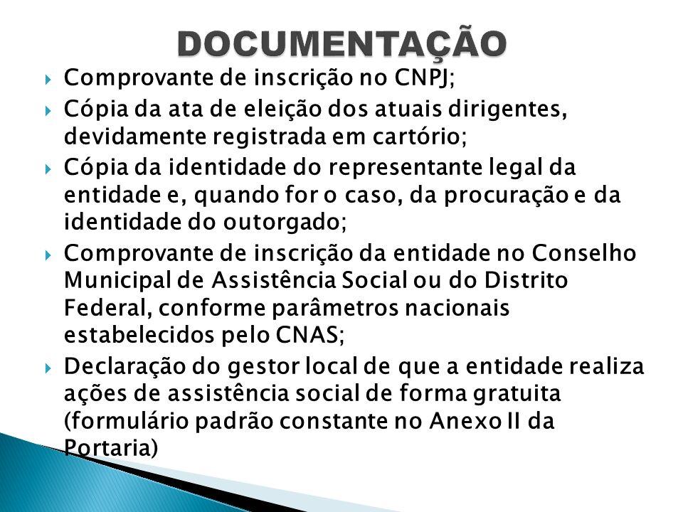 DOCUMENTAÇÃO Comprovante de inscrição no CNPJ;