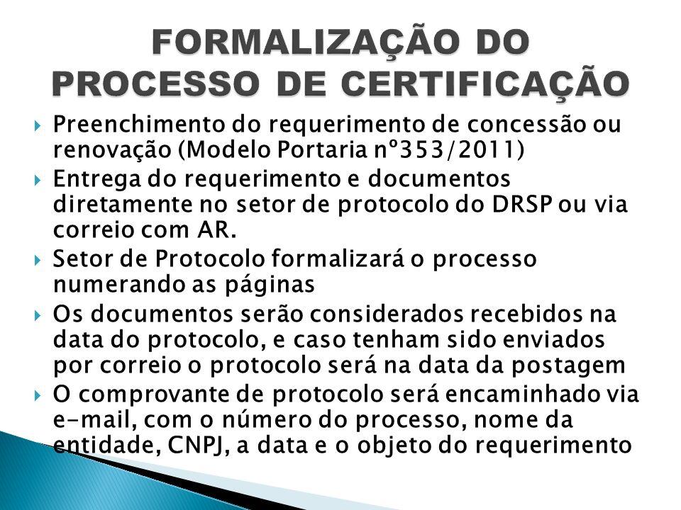FORMALIZAÇÃO DO PROCESSO DE CERTIFICAÇÃO
