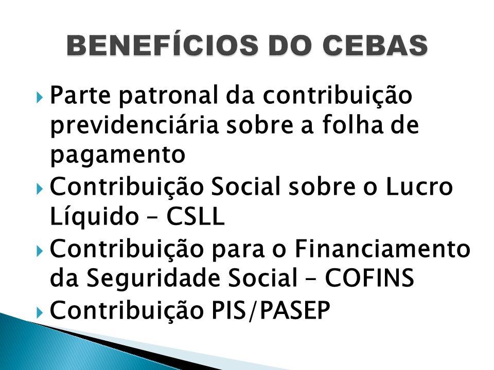 BENEFÍCIOS DO CEBAS Parte patronal da contribuição previdenciária sobre a folha de pagamento. Contribuição Social sobre o Lucro Líquido – CSLL.