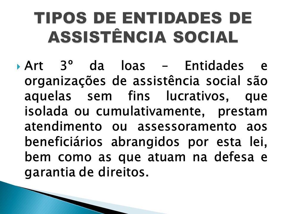 TIPOS DE ENTIDADES DE ASSISTÊNCIA SOCIAL