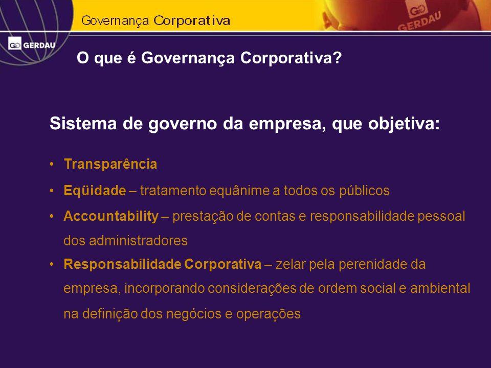 Sistema de governo da empresa, que objetiva:
