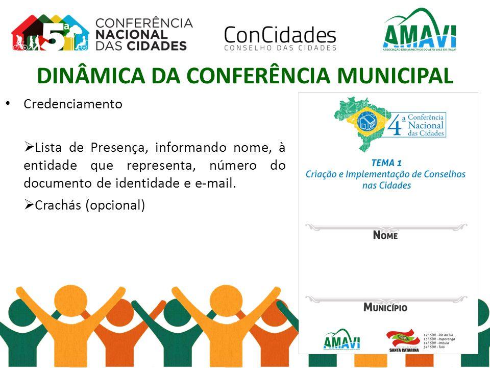 DINÂMICA DA CONFERÊNCIA MUNICIPAL