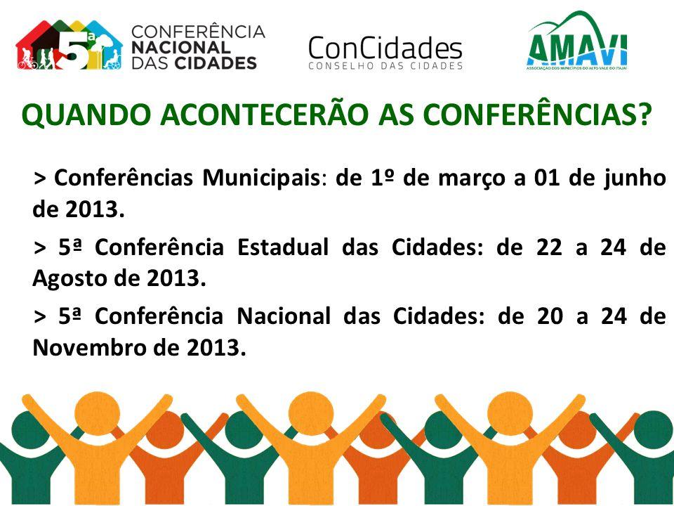 QUANDO ACONTECERÃO AS CONFERÊNCIAS