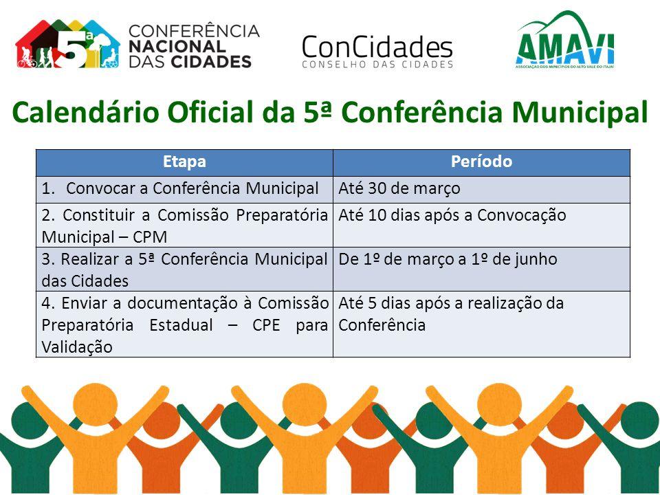 Calendário Oficial da 5ª Conferência Municipal
