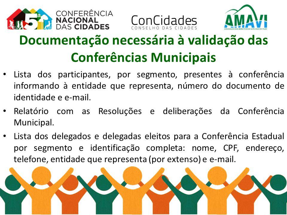 Documentação necessária à validação das Conferências Municipais