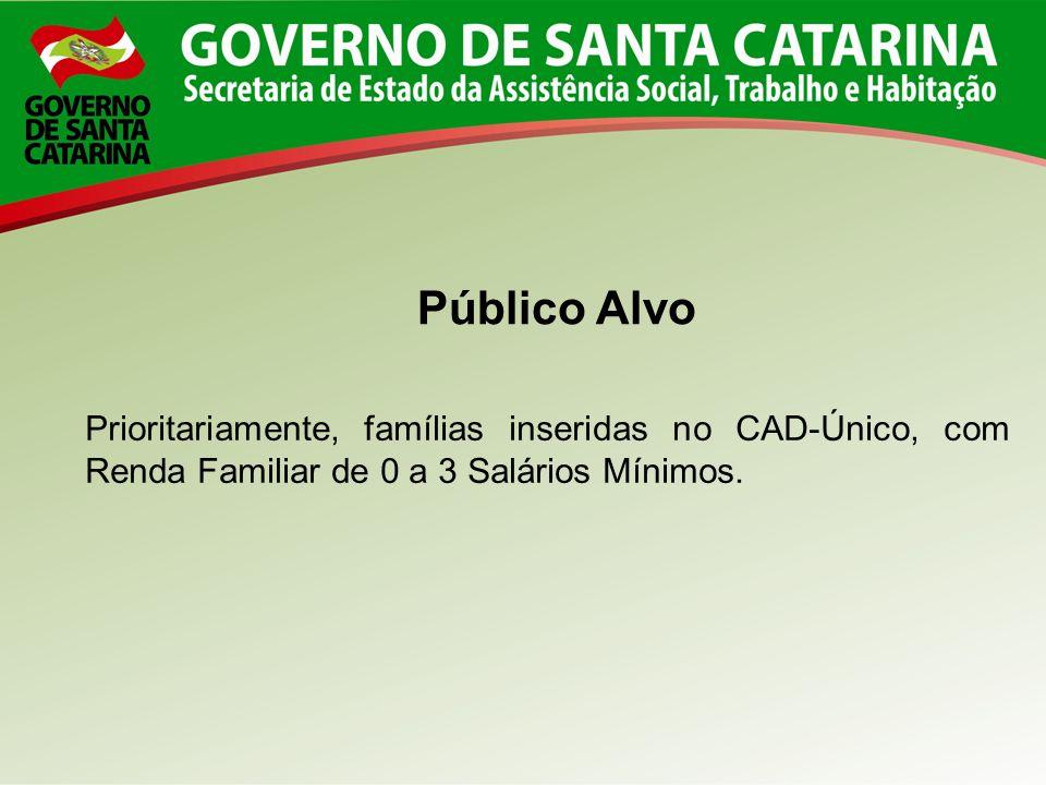 Público Alvo Prioritariamente, famílias inseridas no CAD-Único, com Renda Familiar de 0 a 3 Salários Mínimos.