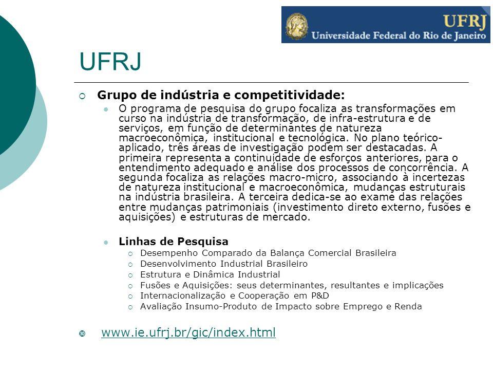 UFRJ Grupo de indústria e competitividade: