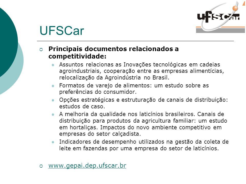 UFSCar Principais documentos relacionados a competitividade: