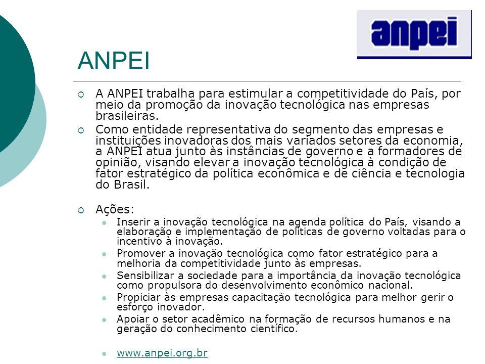 ANPEI A ANPEI trabalha para estimular a competitividade do País, por meio da promoção da inovação tecnológica nas empresas brasileiras.