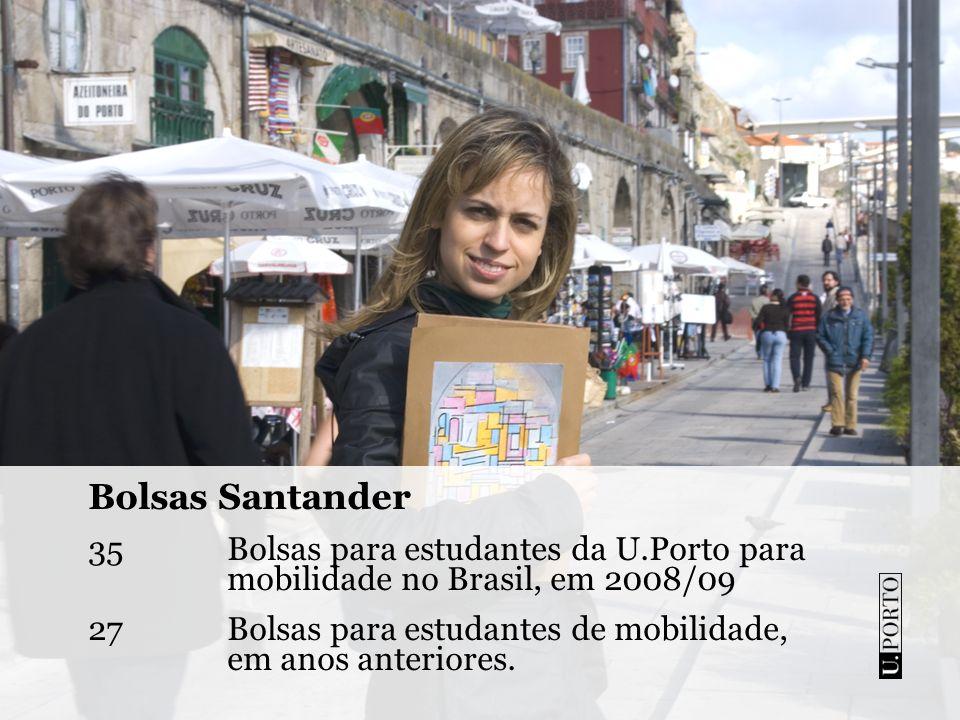 Bolsas Santander Bolsas para estudantes da U.Porto para mobilidade no Brasil, em 2008/09.