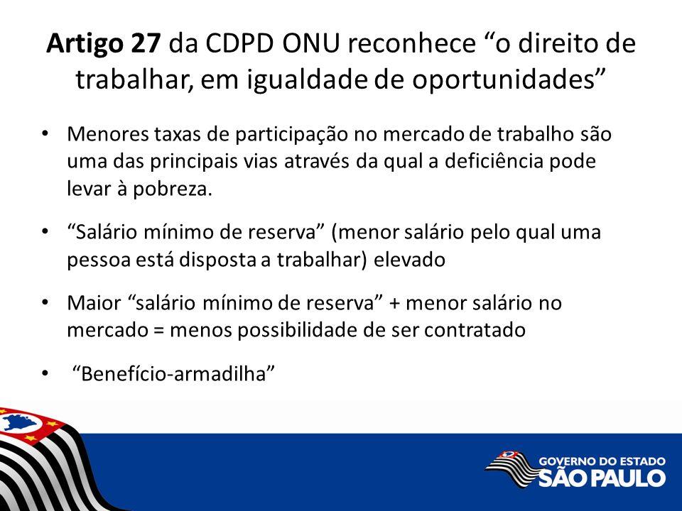Artigo 27 da CDPD ONU reconhece o direito de trabalhar, em igualdade de oportunidades