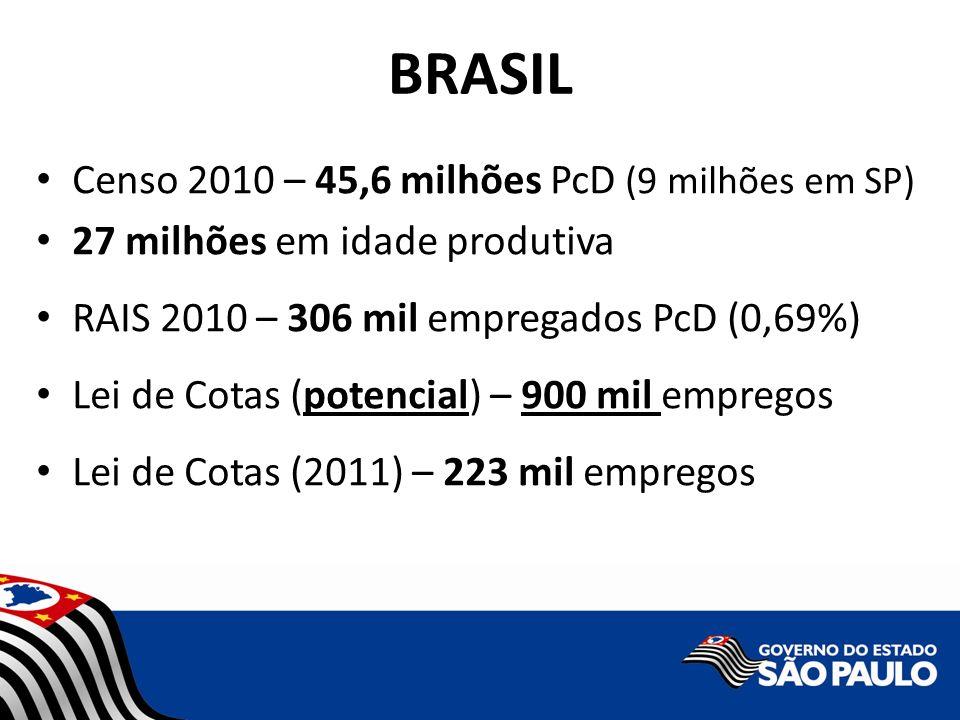 BRASIL Censo 2010 – 45,6 milhões PcD (9 milhões em SP)