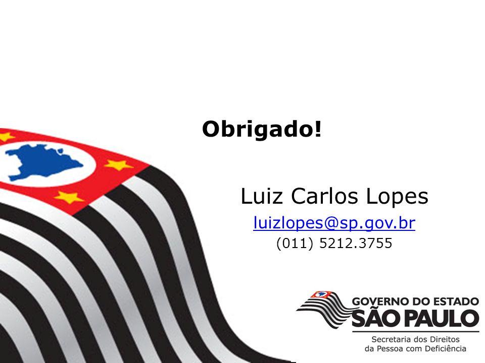 Obrigado! Luiz Carlos Lopes luizlopes@sp.gov.br (011) 5212.3755