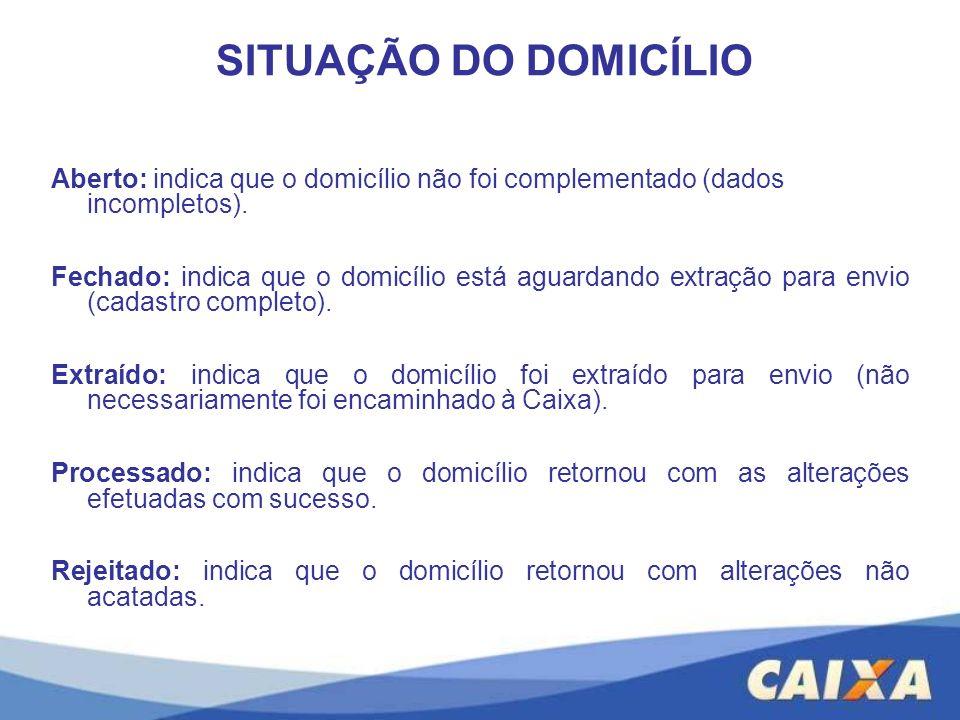 SITUAÇÃO DO DOMICÍLIO Aberto: indica que o domicílio não foi complementado (dados incompletos).