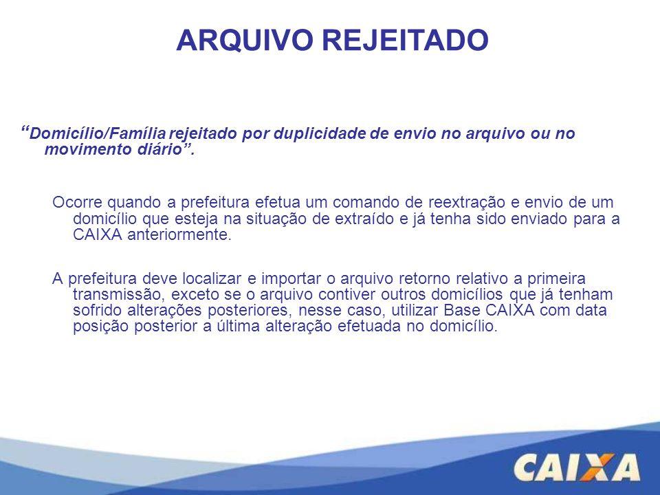 ARQUIVO REJEITADO Domicílio/Família rejeitado por duplicidade de envio no arquivo ou no movimento diário .