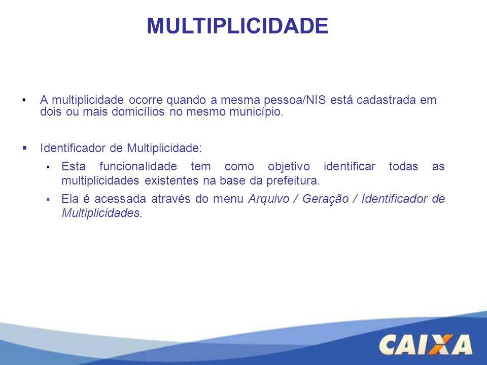 MULTIPLICIDADE A multiplicidade ocorre quando a mesma pessoa/NIS está cadastrada em dois ou mais domicílios no mesmo município.