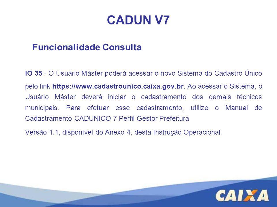 CADUN V7 Funcionalidade Consulta.