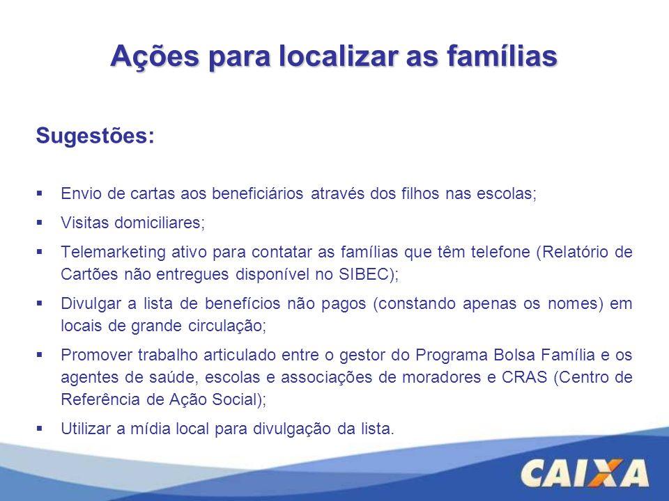 Ações para localizar as famílias