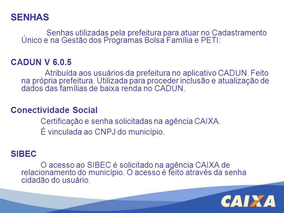 SENHAS CADUN V 6.0.5 Conectividade Social SIBEC