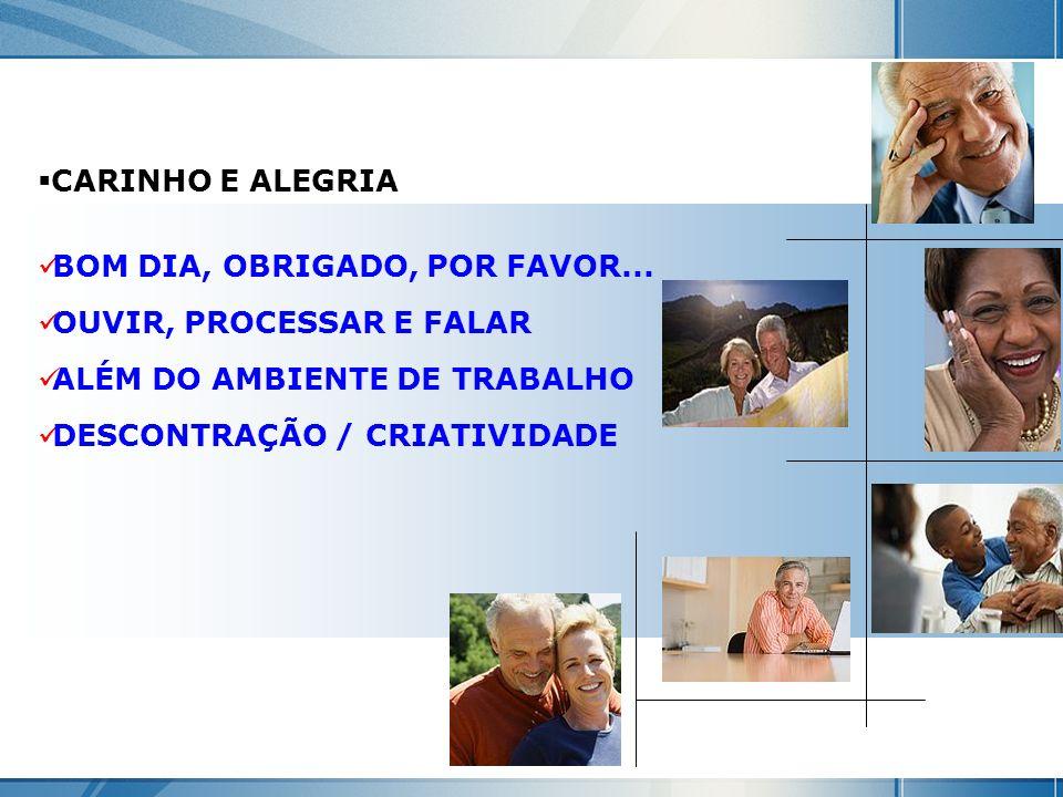 CARINHO E ALEGRIA BOM DIA, OBRIGADO, POR FAVOR... OUVIR, PROCESSAR E FALAR. ALÉM DO AMBIENTE DE TRABALHO.
