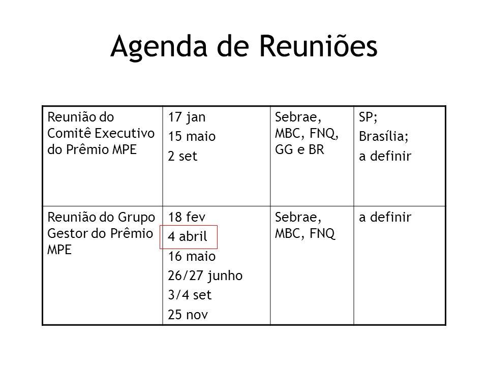 Agenda de Reuniões Reunião do Comitê Executivo do Prêmio MPE 17 jan
