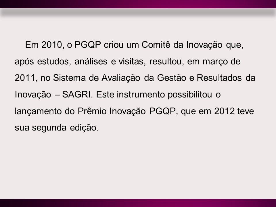 Em 2010, o PGQP criou um Comitê da Inovação que, após estudos, análises e visitas, resultou, em março de 2011, no Sistema de Avaliação da Gestão e Resultados da Inovação – SAGRI.
