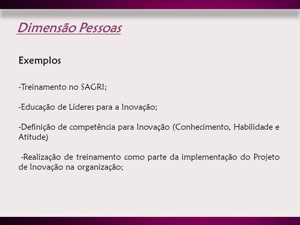Dimensão Pessoas Exemplos Treinamento no SAGRI;