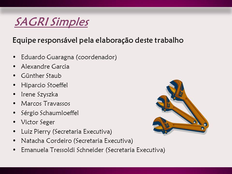 SAGRI Simples Equipe responsável pela elaboração deste trabalho