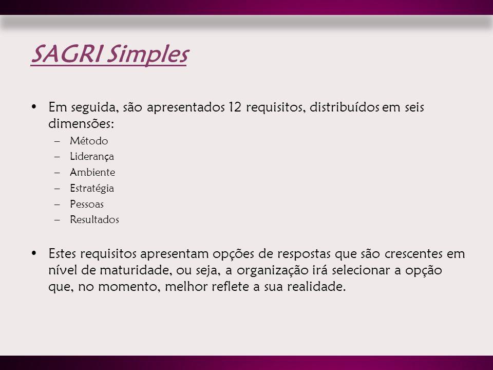 SAGRI Simples Em seguida, são apresentados 12 requisitos, distribuídos em seis dimensões: Método. Liderança.