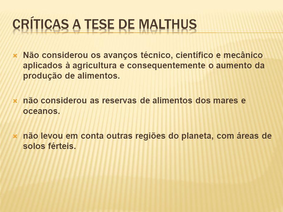 Críticas a tese de malthus
