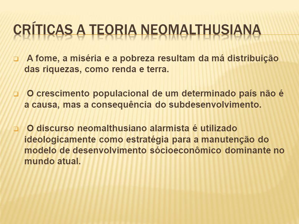CRÍTICAS A TEORIA NEOMALTHUSIANA