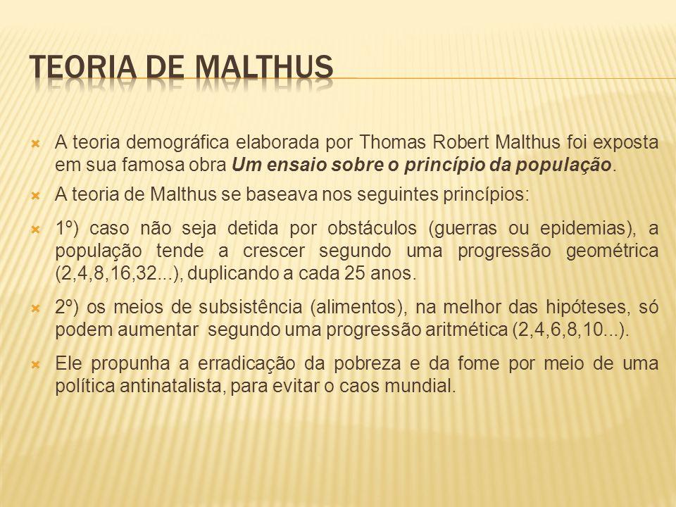 Teoria de malthus A teoria demográfica elaborada por Thomas Robert Malthus foi exposta em sua famosa obra Um ensaio sobre o princípio da população.