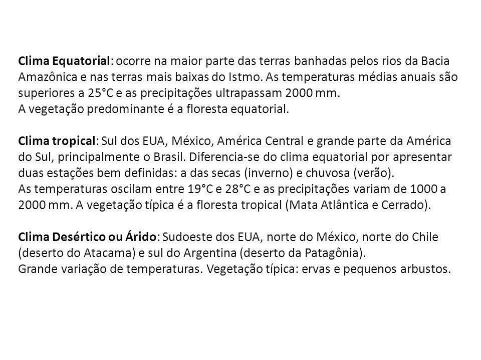 Clima Equatorial: ocorre na maior parte das terras banhadas pelos rios da Bacia Amazônica e nas terras mais baixas do Istmo.