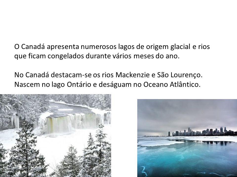 O Canadá apresenta numerosos lagos de origem glacial e rios que ficam congelados durante vários meses do ano.
