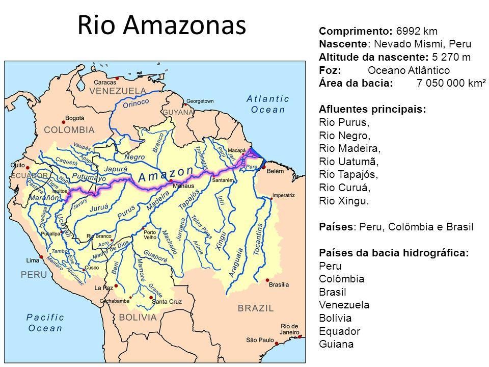 Rio Amazonas Comprimento: 6992 km Nascente : Nevado Mismi, Peru